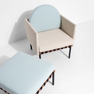 Grid armchair with 2 armrests